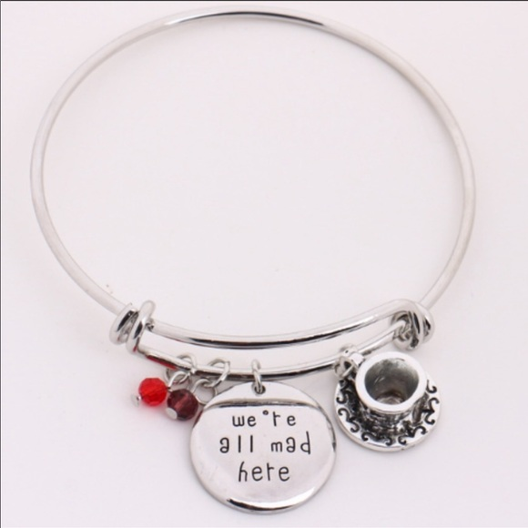 "Eliana and Eli Jewelry - ""we're all mad here"" Silver Charm Bracelet"